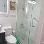 White tile and mosaic small bathroom in Jamaica Creative Building Finishes