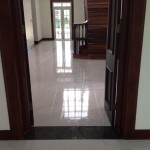 marble look floor tile in Jamaican home