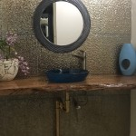 Jamaican home powder room feature wall tile