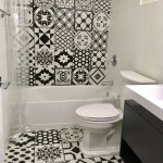 Jamaican home black white tiles bathroom