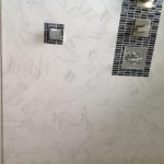 marble wall tiles & silver mosaic shower tiles