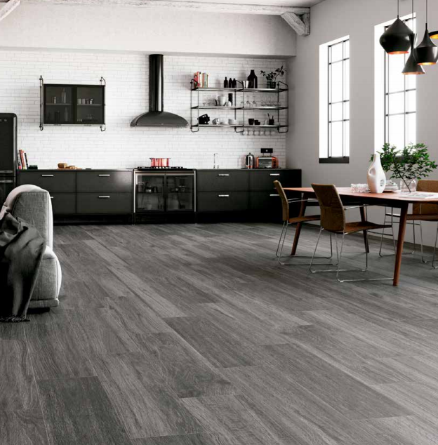 Carpatos Anthracite grey wood look tile in Jamaica