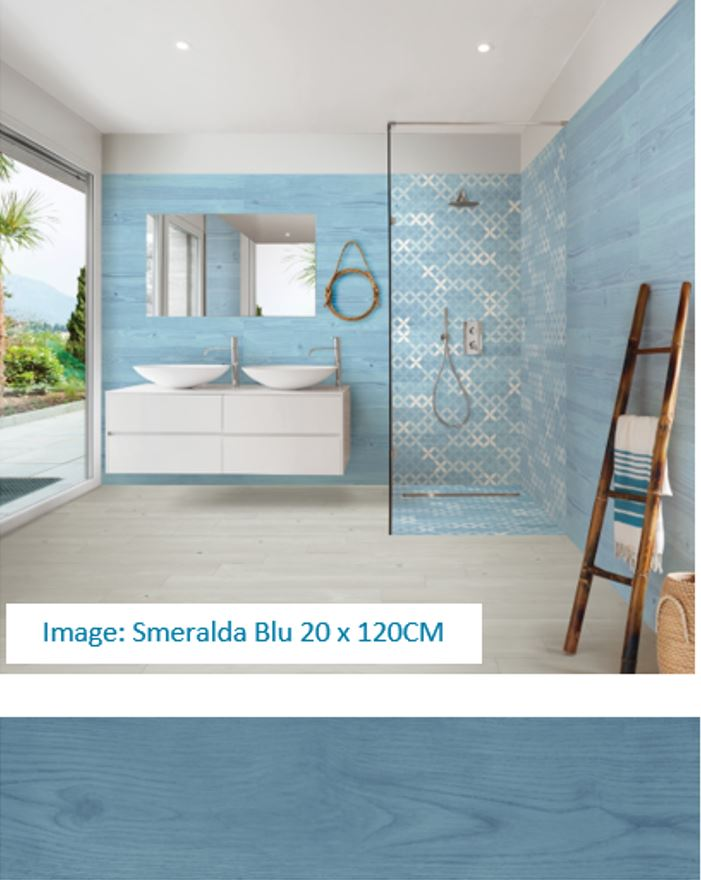 beach blue wood look tiles